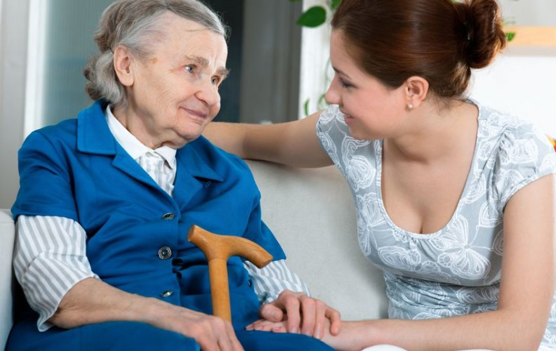 woman talking with aging parent