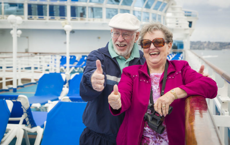 Senior couple enjoying retirement cruise
