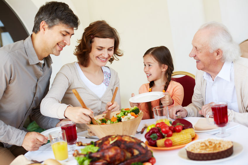 Family enjoying Thanksgiving