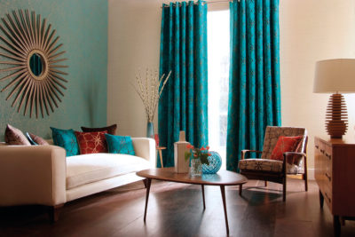 Decorated living room using a home stager